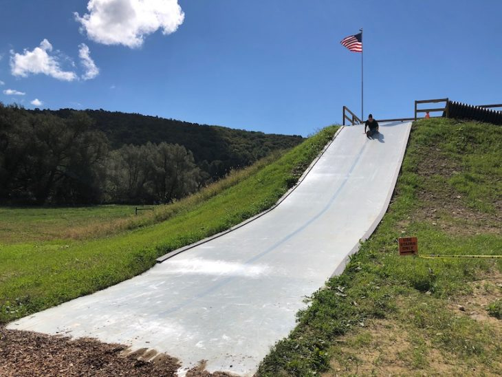kids activities include this giant slide at pumpkinville in western ny