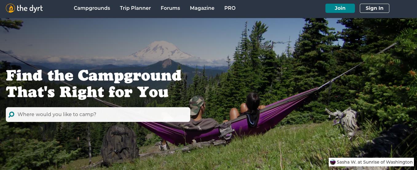 the dyrt campground website