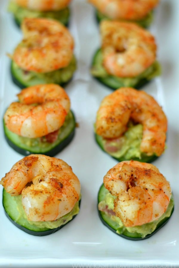 Shrimp Avocado Cucumber Bites