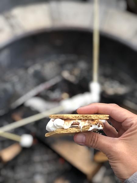 Smores over a campfire