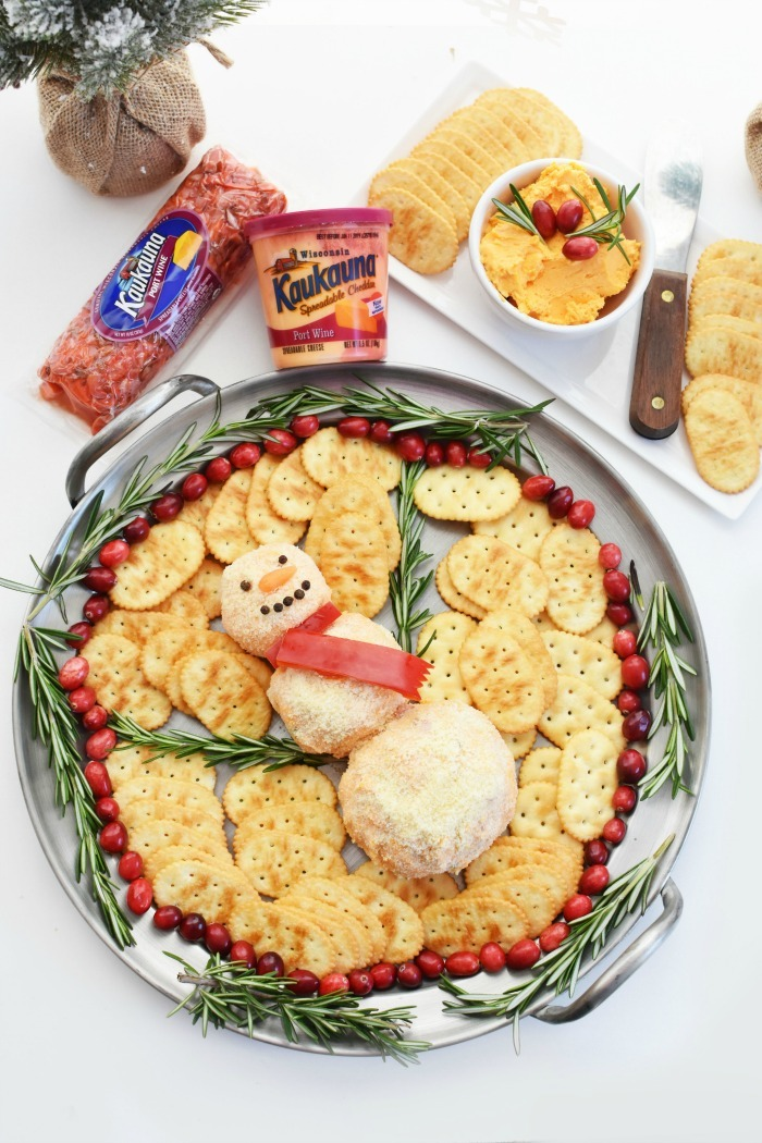 Pimento Cheese Ball Snowman