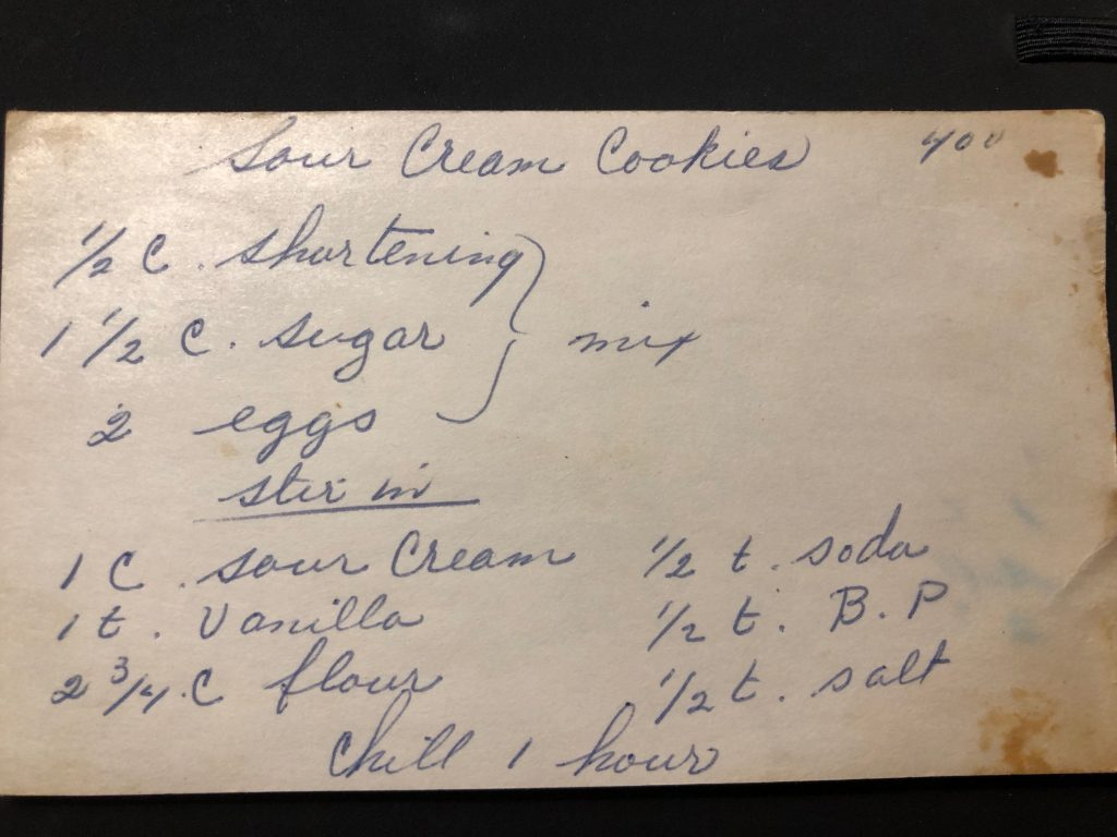 sour cream cookies recipe card