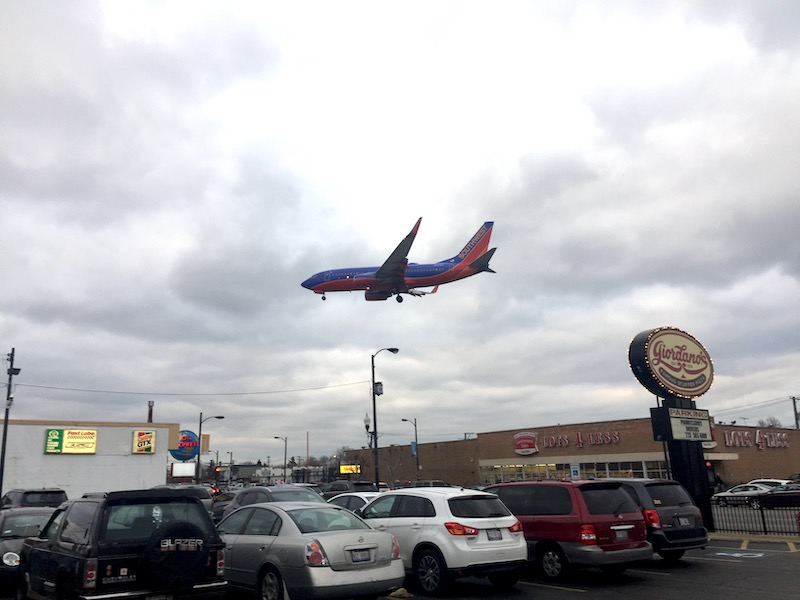 Southwest Airplane landing at Chicago airport