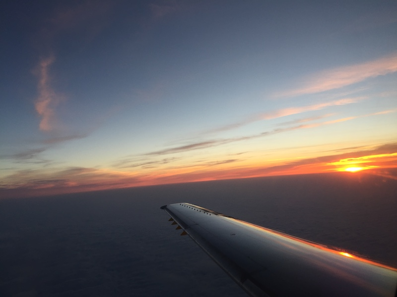 sunset from an airplane