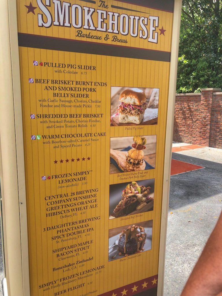 The smokehouse outdoor kitchen menu