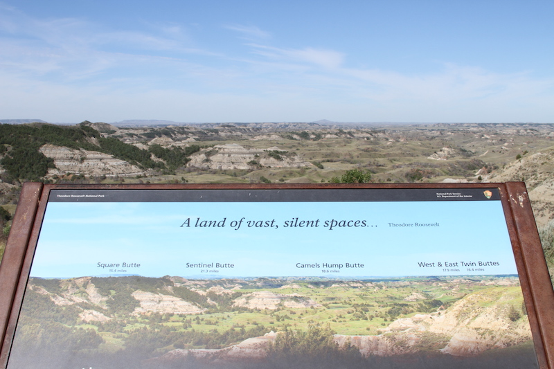 Butte Sign overlooking scenic view at Theodore Roosevelt National Park