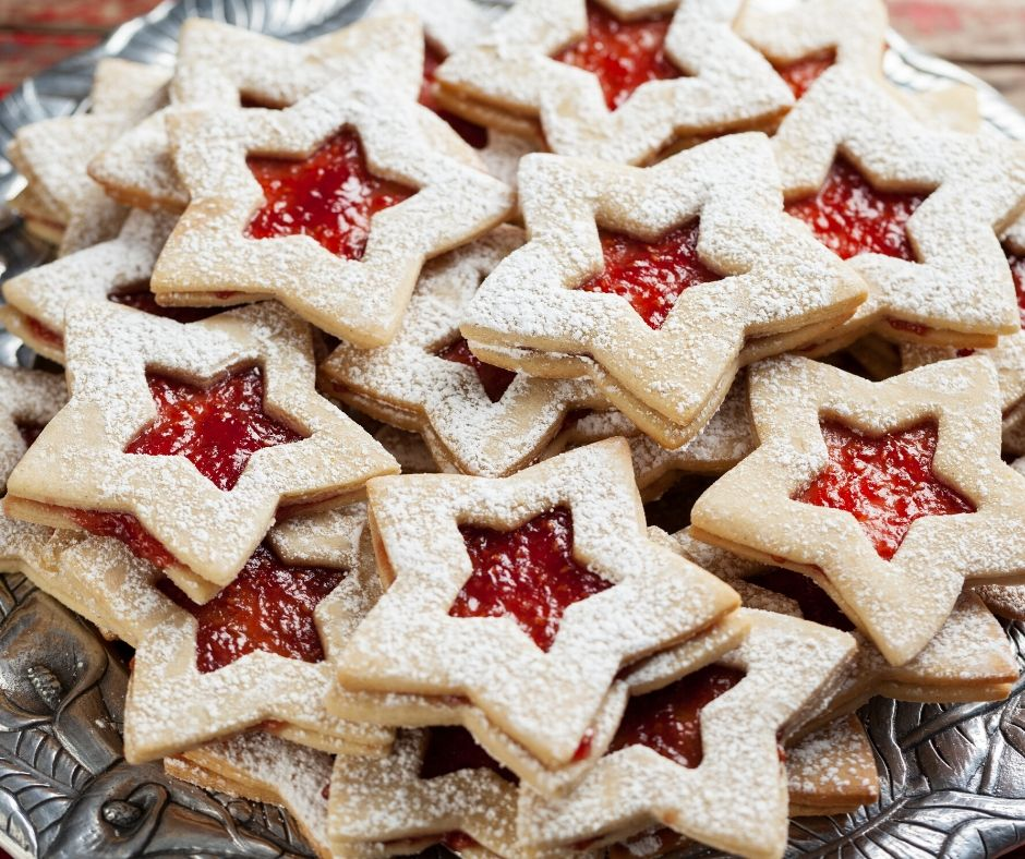 star jelly filled christmas cookies