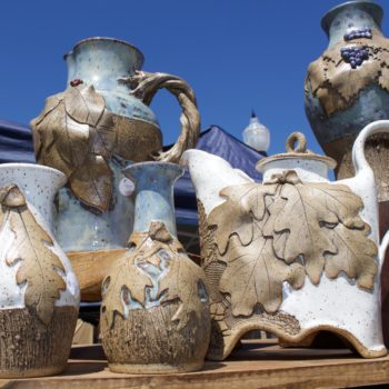 cotton district art festival pottery display