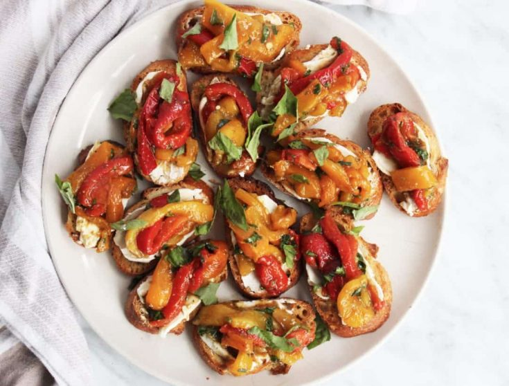 Crostini Canapés with Goats Cheese & Roasted Peppers