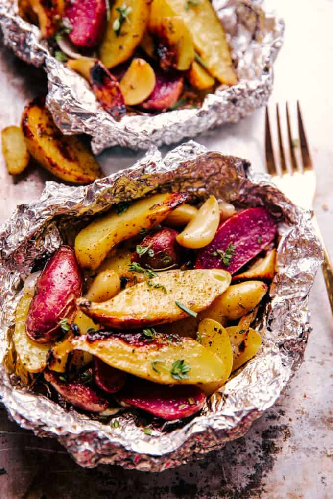 garlic-potato-foil-packets