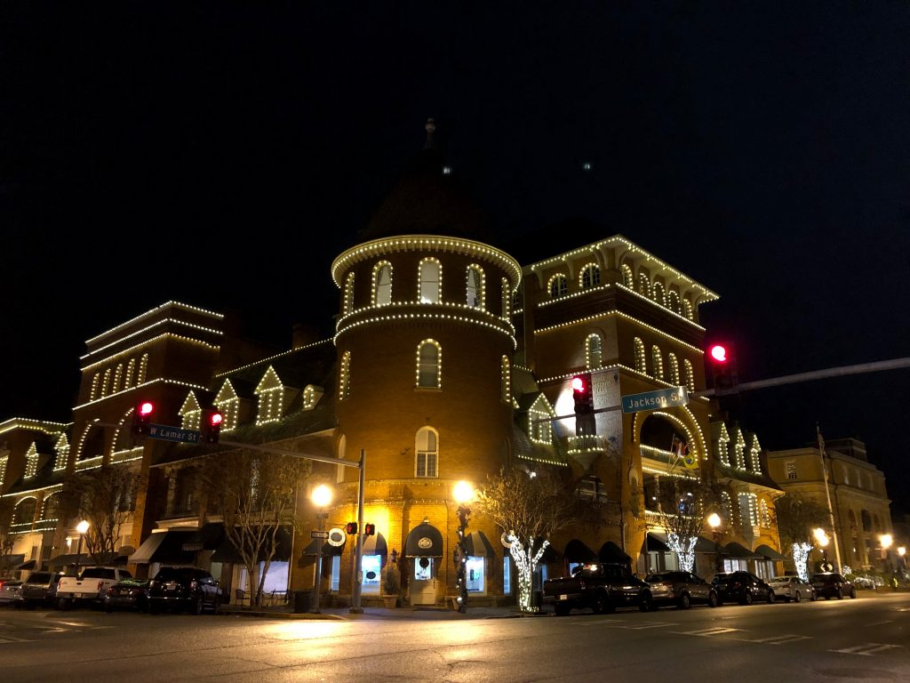 historic windsor hotel at night lit up
