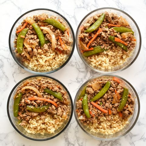 snap pea ground turkey stir fry rice bowls