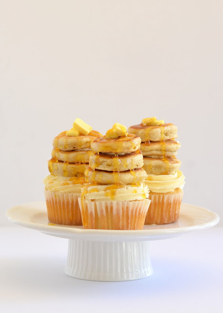 Maple pecan cupcakes with tiny buttermilk pancakes.