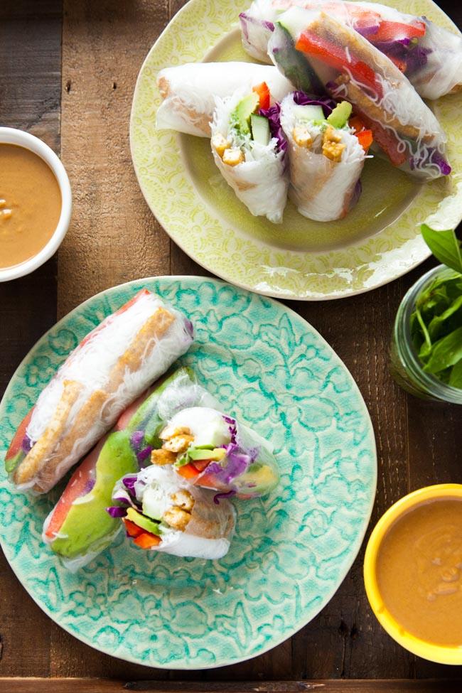 Tofu & Avocado Spring Rolls with Peanut Dipping Sauce