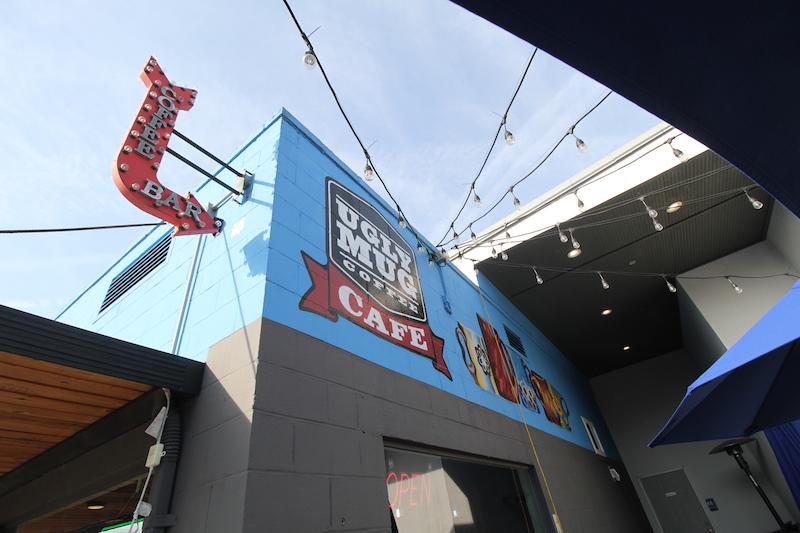 Ugly Mug logo and outside cafe sign