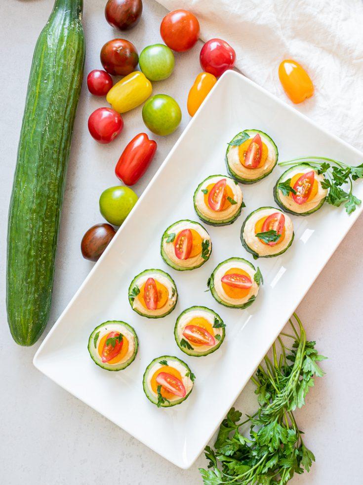 Vegan Cucumber Hummus Bites