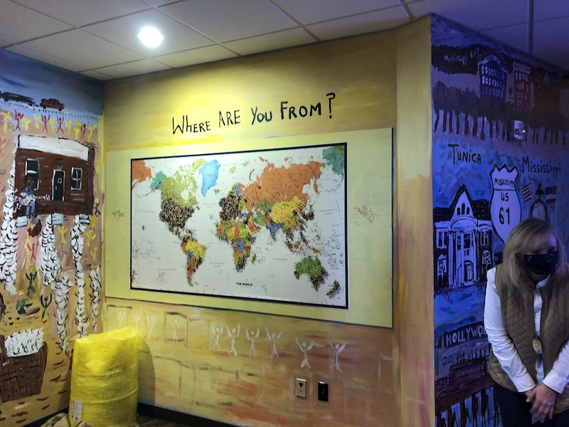 world map at gateway to the blues